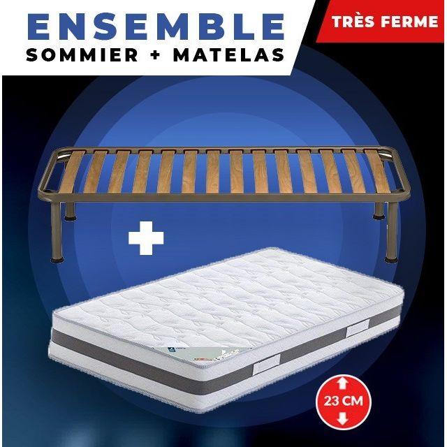 King Of Dreams Matelas 90x190 + Sommier + pieds Offerts 70x190 Mémoire de Forme - 23 cm - Très Ferme