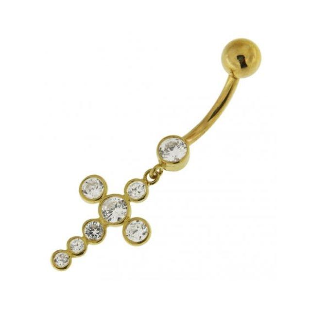 Sans Marque Bijou Pierre Précieuse Piercing de Nombril Croix Pendante En Or Jaune 14 carats Sertie de Zircons Clairs