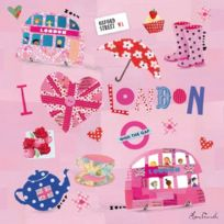 Happy Spaces - 50 X 50 X 2 Cm, Kids Wall Art Canvas Print I Heart London By Clare Fennell