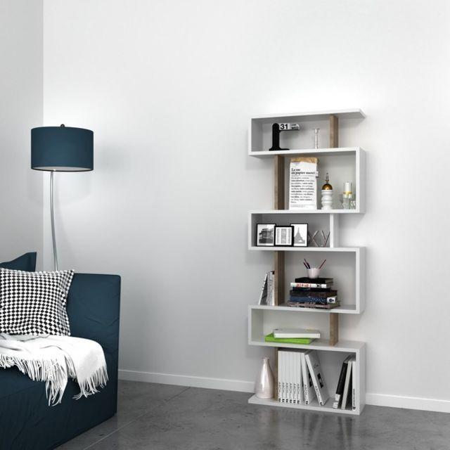 Bibliotheque Tablero Moderne Blanc Noix Pour Sejour Salon Chambre Bureau Livre Mur