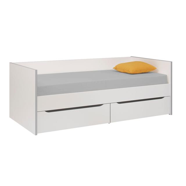 gami lit banquette 2 tiroirs 90x200 babel blanc gris pas cher achat vente structures de. Black Bedroom Furniture Sets. Home Design Ideas