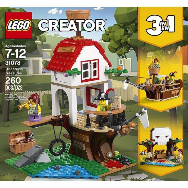 Lego 31078 Creator 3-en-1 - Les trésors de la cabane dans l'arbre Les trésors de la cabane dans l'arbreDes aventures époustouflantes sont à vivre dans l'univers des pirates avec cet ensemble Lego Creator 3-en-1 31078 Les trésors de la cabane dans l'arbre.