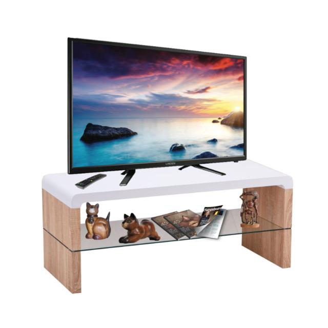 Price Factory Meuble Tv Faro 100 Cm Avec Une Etagere En Verre