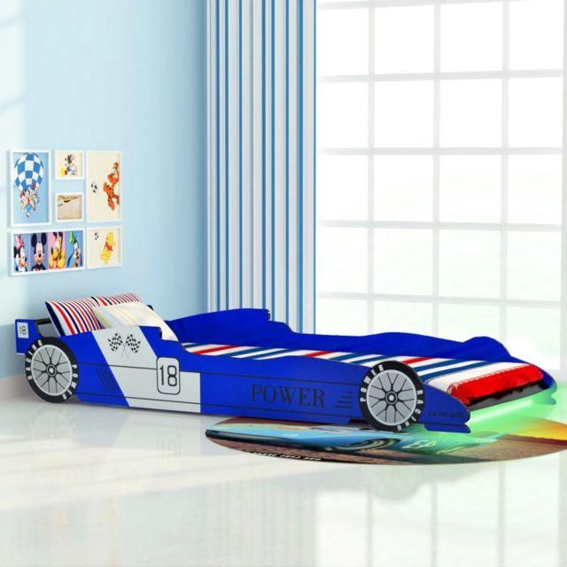 Uco Lit voiture de course pour enfants avec Led 90 x 200 cm Bleu