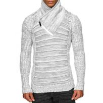 Beststyle - Pull homme col montant blanc