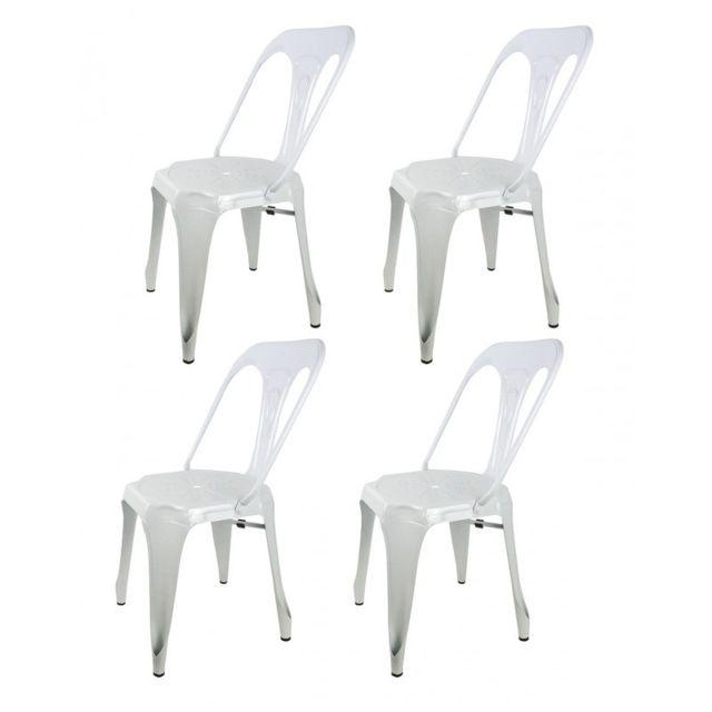 Meubletmoi Lot 4 Chaises Blanches En Métal Style Industriel