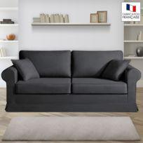 Home Spirit - Canapé 3 places fixes - 100% coton - coloris anthracite Adele