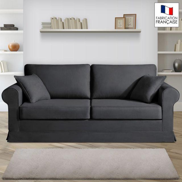Home Spirit Canapé 3 places fixes - 100% coton - coloris anthracite Adele