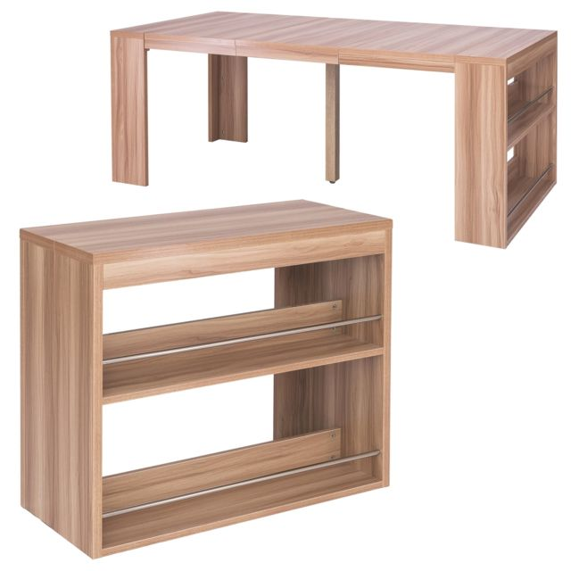 Menzzo Table Console Avec Rangement Maxwell Chene Clair Pas Cher Achat Vente Tables A Manger Rueducommerce
