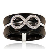 Planetys - Bague Céramique Infinity Symbole Infini Argent 925/1000 Oxydes de Zirconium