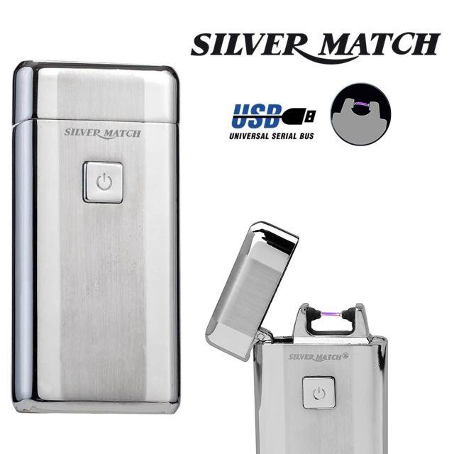 Silver Match Briquet Silvermatch Kew arc électrique argent