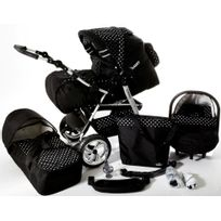 LUX4KIDS - Poussette Combinée iCaddy 3en1 Siège auto Couffin Poussette Canne Sac à langer Accessoires 01 noir & points blancs