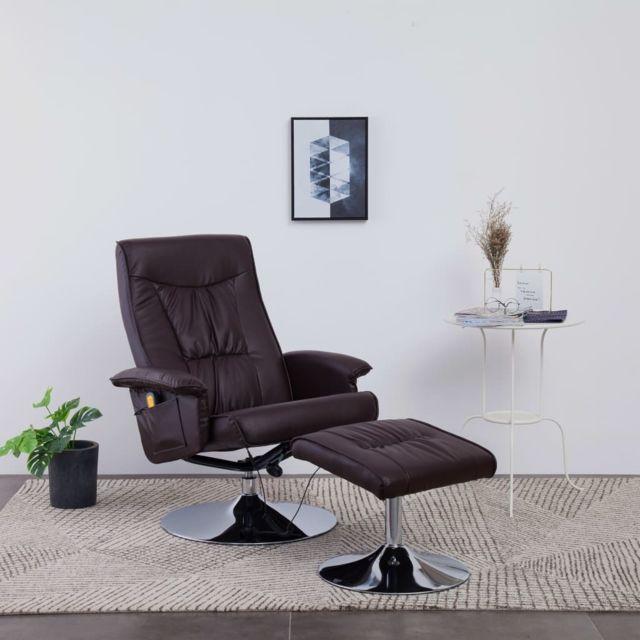 Fauteuil de Massage avec Repose pieds Marron Similicuir Chaise Salon