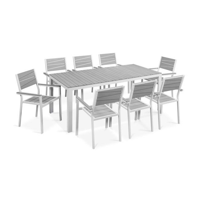 OVIALA - Table de jardin 8 places aluminium et polywood - Blanc ...