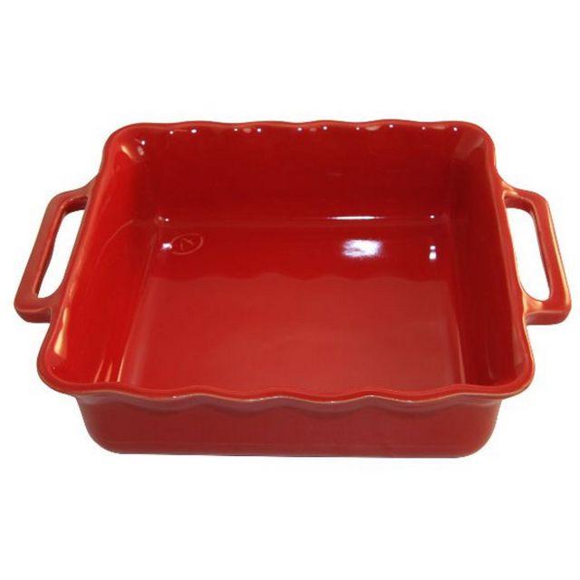 APPOLIA plat carré céramique 34.5cm cerise - 140034520