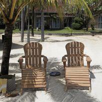 Bois Dessus Bois Dessous - Lot de 2 fauteuils en bois de teck avec repose pieds