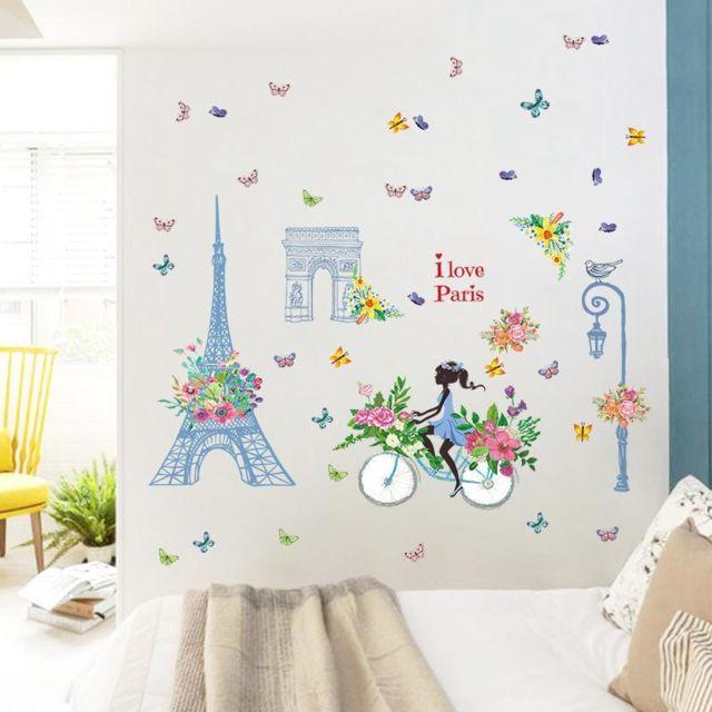 Stickers Mural Paris Tour Eiffel Fille Decor