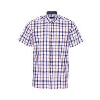 Jean Chatel - Chemise manches courtes blanche à carreaux marrons et bleu marine