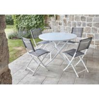 Ensemble de jardin table ronde blanche + 4 chaises pliantes anthracites