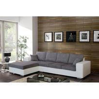 Meublesline - Canapé d'angle 5 places Harmonia gris et blanc