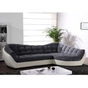 linea sofa canap d 39 angle tissu et cuir leandro gris et blanc ivoire angle droit blanc. Black Bedroom Furniture Sets. Home Design Ideas