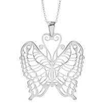 1001BIJOUX - Collier argent rhodié gros pendentif papillon 40+10cm