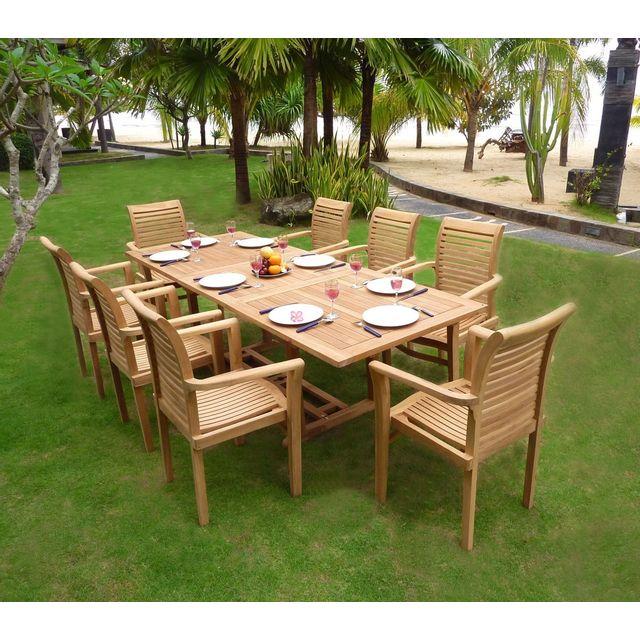 Wood En Stock - salon de jardin en teck brut table 180-240 cm 8 ...