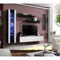 Asm-mdlt - Ensemble meuble Tv mural Fly-g noir et blanc de haute brillance avec Led