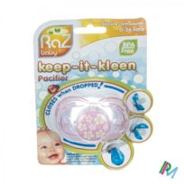 Razbaby - Pink With Flowers - tétine silicone Bpa Free - fermeture automatique