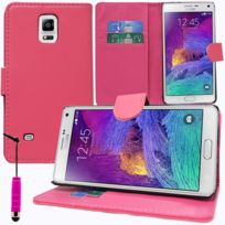 Vcomp - Housse Coque Etui portefeuille Support Video Livre rabat cuir Pu pour Samsung Galaxy Note 4 Sm-n910F/ Note 4 Duos Dual Sim, N9100/ Note 4 CDMA, / N910C N910W8 N910V N910A N910T N910M + mini stylet - Rose