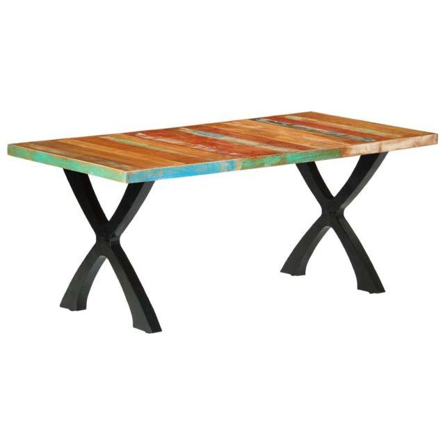 Contemporain Tables collection San Salvador Table de salle à manger 180x90x76cm Bois de récupération solide