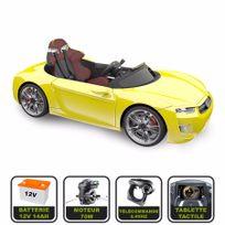 Cristom - Voiture électrique de luxe 12V pour enfant Henes Broon F830 tablette tactile, télécommande Bluetooth jaune