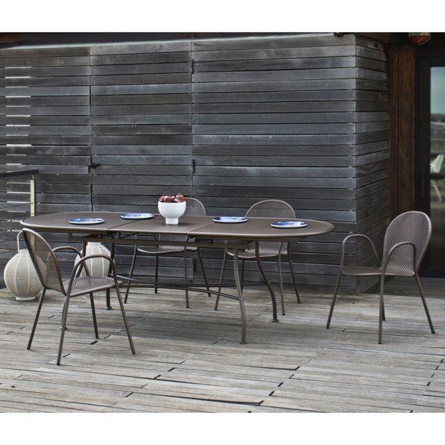 Oasi by Emu - Salon de jardin avec table extensible 180/240cm et 4 ...