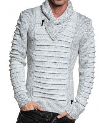 79b7357fab0a BLZ Jeans - Pull blanc maille relief col châle zippé - pas cher ...