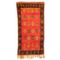 Mon Beau Tapis - Tapis couloir 12081 en laine fait main rouge 250x125cm Zemere