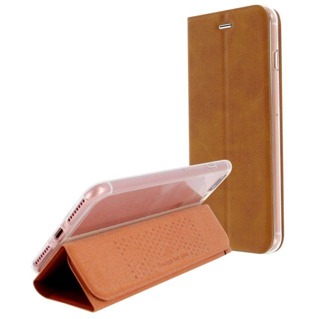 Avizar - Étui iPhone 7 Plus / 8 Plus Housse à rabat ultra-fine fonction support - Camel