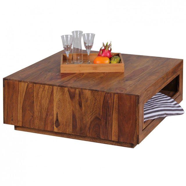 Comforium Table basse contemporaine à 2 tiroirs en bois massif sheesham