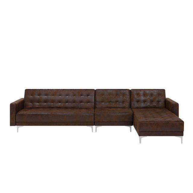 Beliani Canapé modulaire en simili cuir marron côté gauche Aberdeen