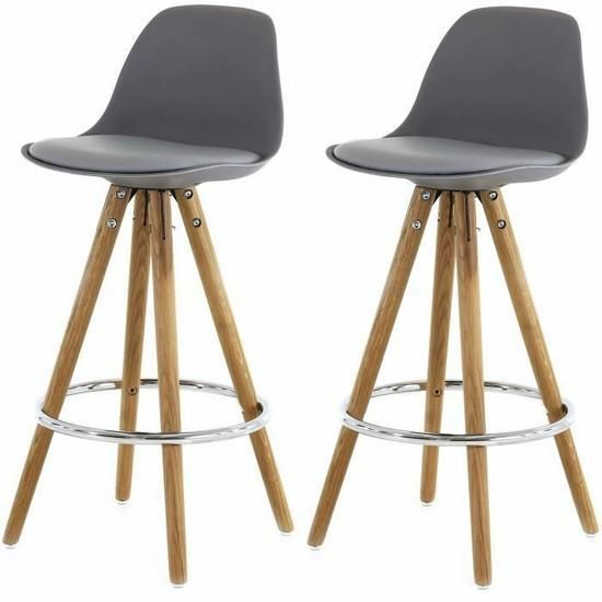declikdeco lot de 2 tabourets de bar scandinave gris uma pas cher achat vente tabourets. Black Bedroom Furniture Sets. Home Design Ideas