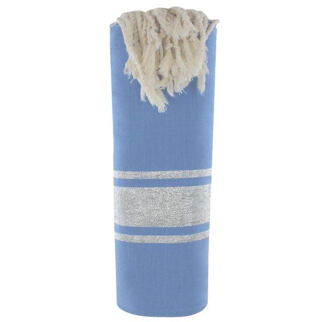 les poulettes bijoux fouta drap plage et hammam coton bleu ray lurex argent 100cm x 200cm. Black Bedroom Furniture Sets. Home Design Ideas