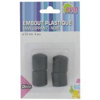 Pvm - Embout enveloppant plastique noir - Diam. 22 mm - Par 4