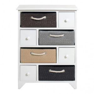 Mobili rebecca meuble de rangement buffet 4 tiroirs 4 for Meuble tiroir osier blanc