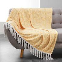 Douceur D'INTERIEUR - Plaid à franges flanelle Tunis 125x150 cm jaune