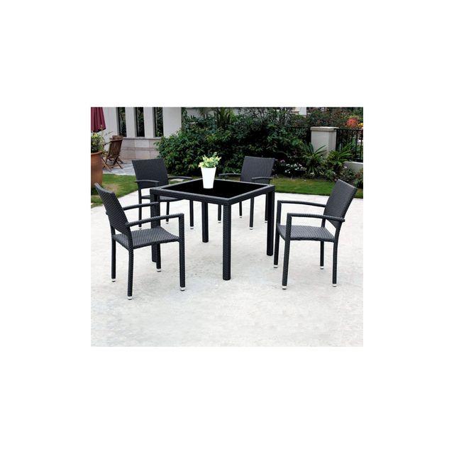Wood En Stock - Ensemble de jardin en résine avec 4 fauteuils et ...