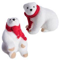 Marque Generique - Lot de 2 ours blanc déco Noël en mousse avec écharpe rouge 24cm