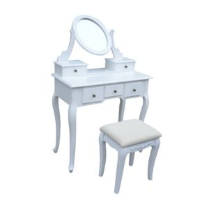 homcom coiffeuse table de maquillage commode de coiffer avec tabouret tiroir et miroir. Black Bedroom Furniture Sets. Home Design Ideas