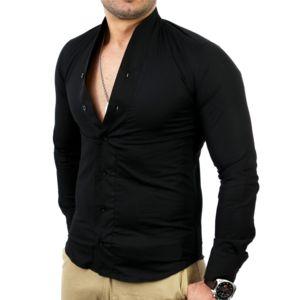 tazzio chemise homme col mao chemise tz9005 noir pas cher achat vente chemise homme. Black Bedroom Furniture Sets. Home Design Ideas