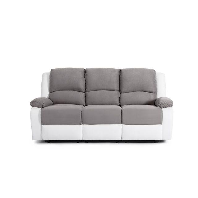 USINESTREET Canapé Relaxation 3 places Microfibre / Simili DETENTE - Couleur - Blanc / Gris
