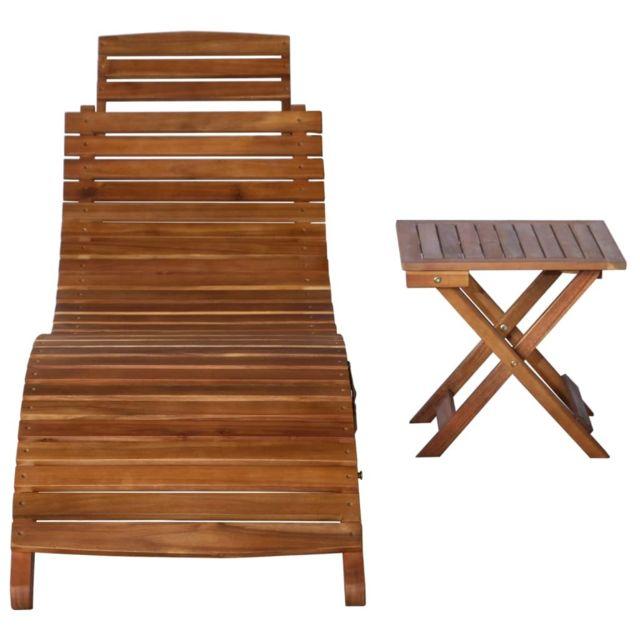Icaverne Bains de soleil categorie Chaise longue avec table Bois d'acacia massif Marron