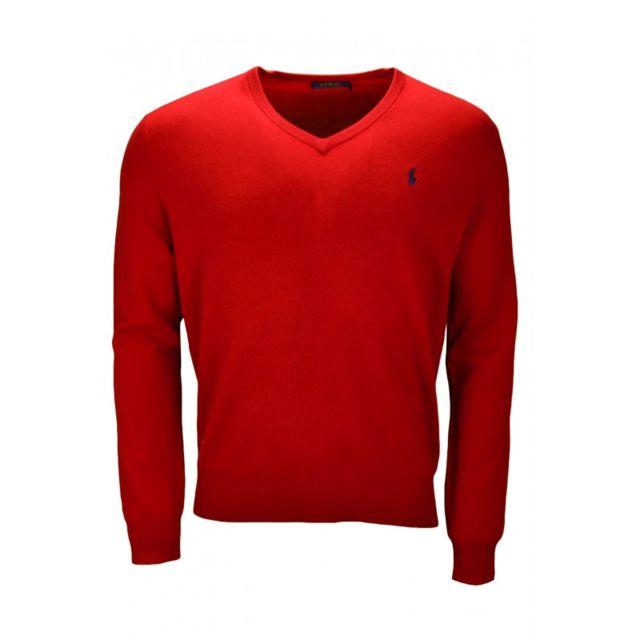 Ralph Lauren - Pull col V en laine rouge pour homme - pas cher Achat   Vente  Pull homme - RueDuCommerce a5cf30564f16